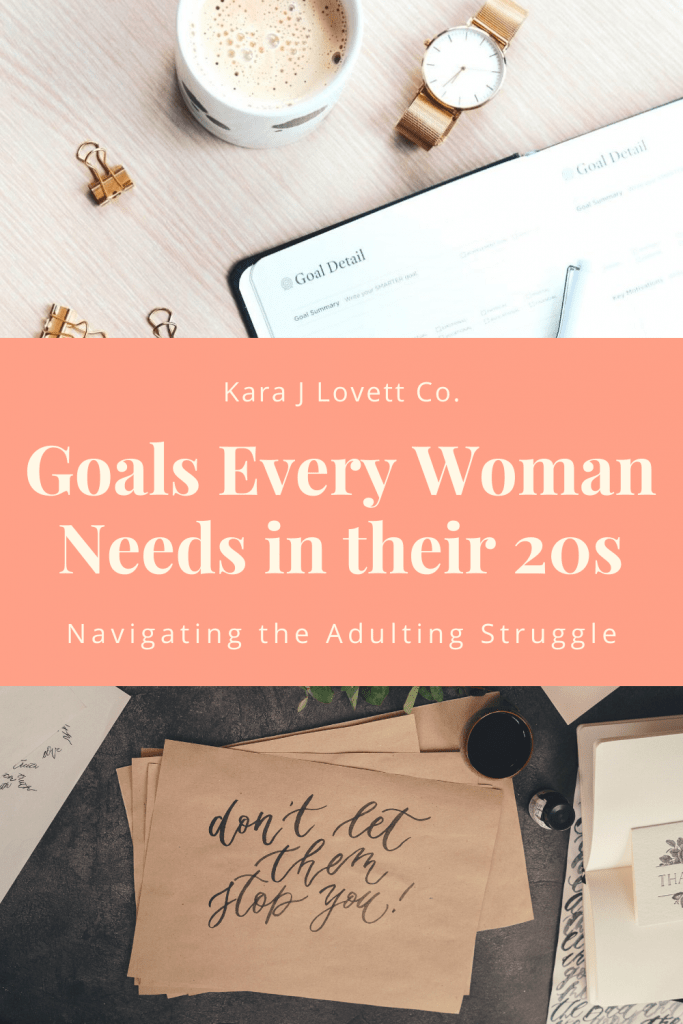 Pinnable image for goals for a woman in her 20s.