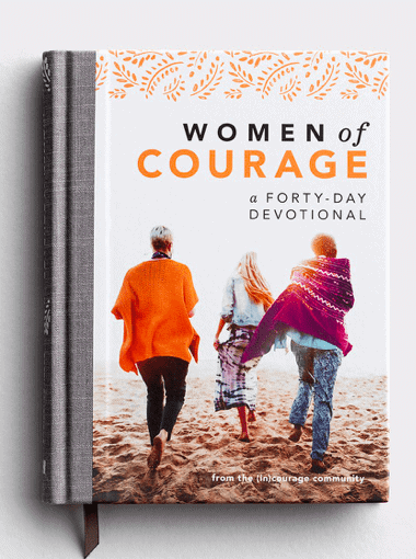 Book Cover of women on the beach for the devotional - women of courage