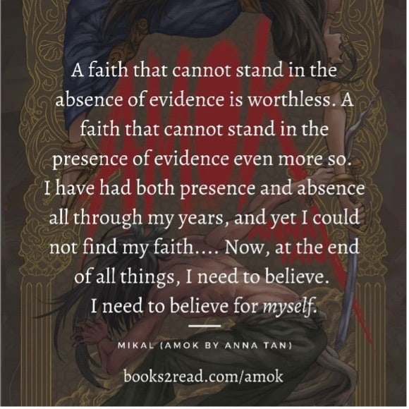 A quote from the book Amok about taking ownership of your faith and standing firm in your faith