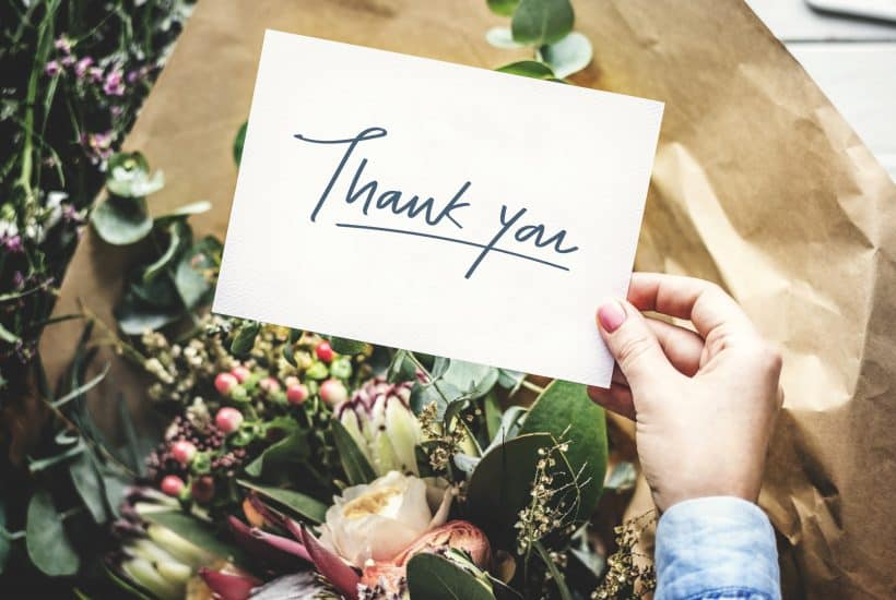 Thank You card with a flower bouquet