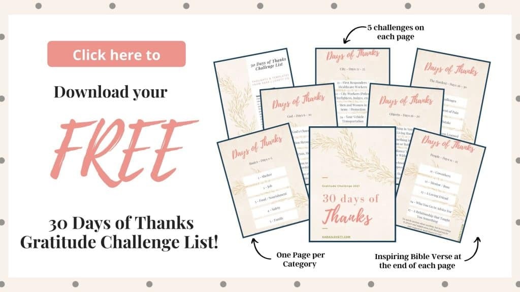 Mockup of Pages in 30 days of thanks challenge list