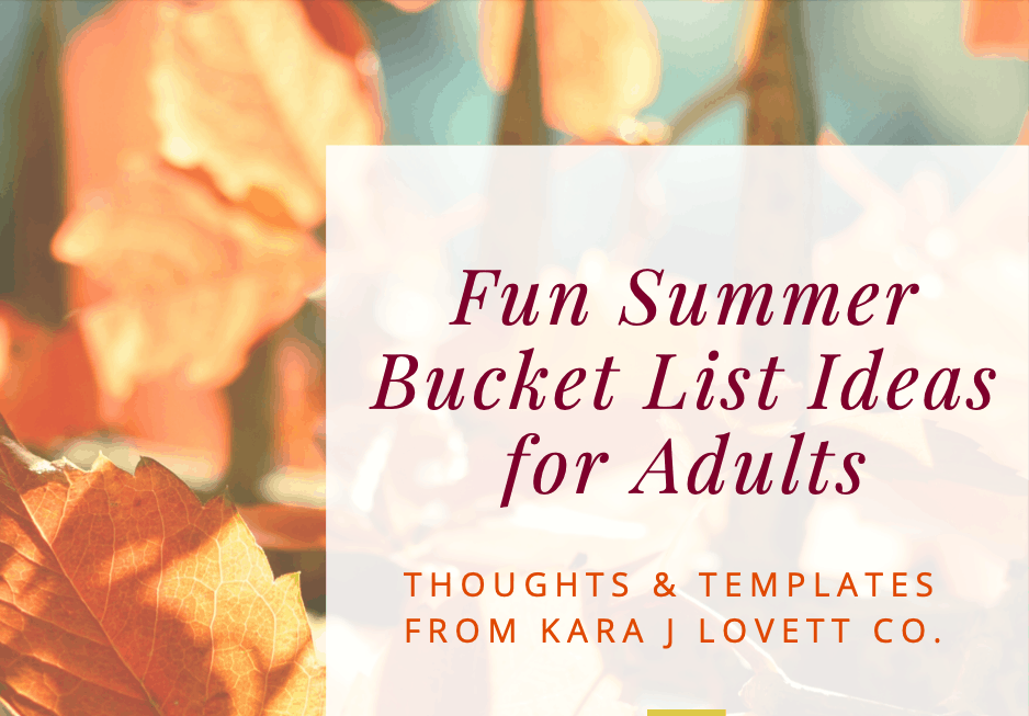 Picture of the fun summer bucket list template for adults by KJL Co.